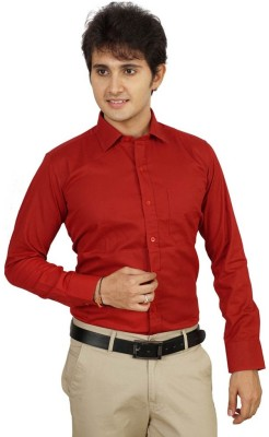 Aries Men's Solid Formal Red Shirt
