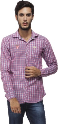 Brooklyn Borough Men's Checkered Casual Purple Shirt