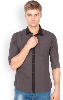 Mode Manor Men's Solid Casual Grey Shirt