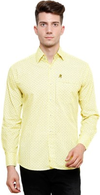 Ebry Men's Printed Casual Yellow Shirt
