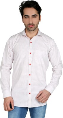 Being Friends Men's Printed Casual White Shirt