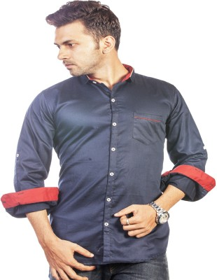 Bombay Casual Jeans Men's Solid Casual Dark Blue Shirt