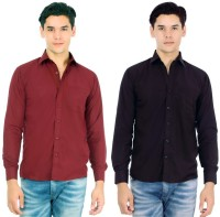 Arzaan Creations Formal Shirts (Men's) - Arzaan Creation's Men's Solid Formal Blue, Maroon Shirt(Pack of 2)