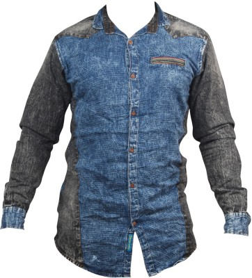 ZEDX Men's Striped Casual Denim Grey, Blue Shirt