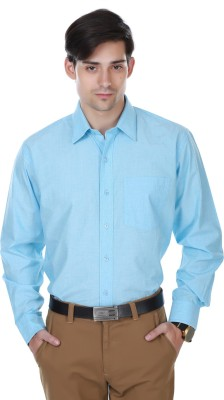 Cotton County Men's Solid Formal Light Blue Shirt