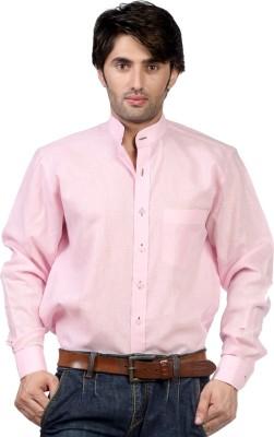 Hugo Chavez Men's Solid Formal Linen Pink Shirt