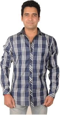 Flying Threadz Men's Checkered Casual Blue Shirt