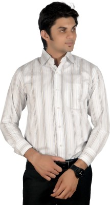 Proactive Men's Striped Formal White Shirt
