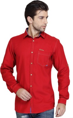 SEVEN STITCHES Men's Solid Casual Red Shirt