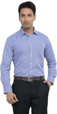 Countryside Men's Checkered Formal Blue, White, Dark Blue Shirt