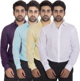 Deekshavastra Men's Solid Casual Blue Sh...