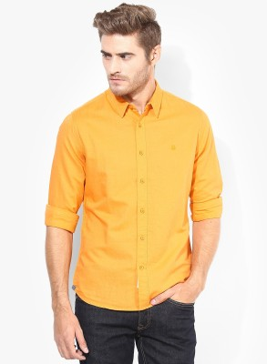 Erza Men's Solid Casual Orange Shirt