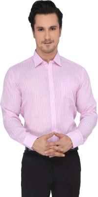 Devaa Men's Striped Casual Pink Shirt