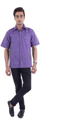 Warrior Men's Solid Casual Purple Shirt