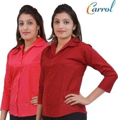 carrol Women,s, Girl's Solid Formal, Casual Pink, Maroon Shirt