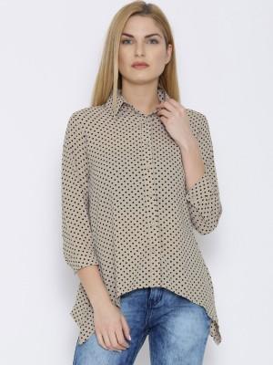 Oner Women,s Printed Casual Beige Shirt