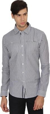 Calvin Klein Men's Striped Casual Grey, White Shirt