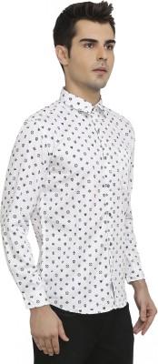 Waterfall Men's Printed Casual White Shirt