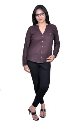 Chidiya Designs Women's Solid Casual Brown Shirt