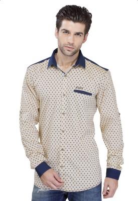 SEVEN STITCHES Men's Graphic Print Casual Beige Shirt