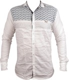 Zedx Men's Printed Casual White Shirt