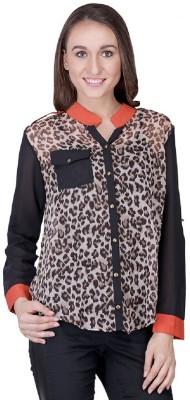 Shiks Vogue Women's Animal Print Casual Black Shirt