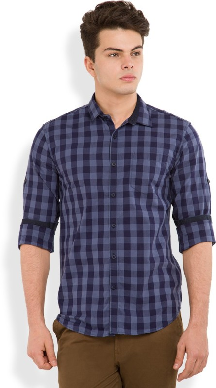 Highlander Men's Checkered Casual Blue Shirt
