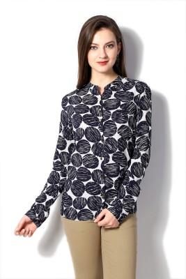 Van Heusen Women's Geometric Print Casual Dark Blue Shirt