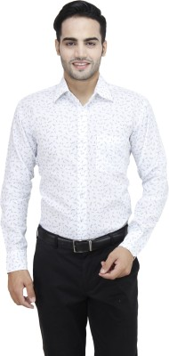 Da Vinci Men's Printed Casual Blue, White Shirt