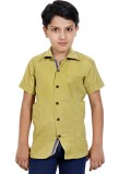 MagPie Baby Boys Solid Party Gold Shirt