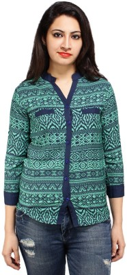 Styles Clothing Women's Printed Casual Green Shirt