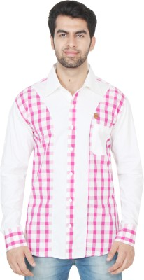Swiss Culture Men's Self Design Casual White, Pink Shirt