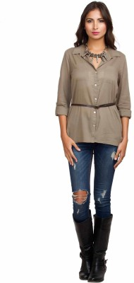 Orous Women's Solid Casual Brown Shirt