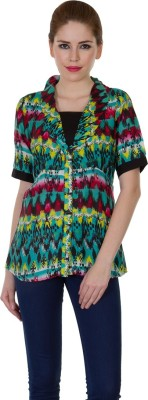 Zoae Women's Printed Casual Multicolor Shirt