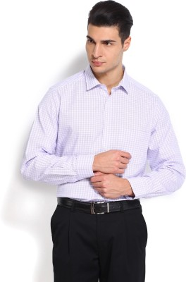 Nord51 Men's Checkered Formal White, Purple Shirt