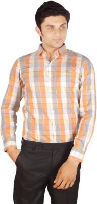 Kriss Men's Checkered Casual Orange Shirt