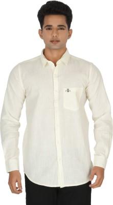 Rug Bee Men's Solid Casual Linen Yellow Shirt
