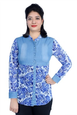 Cherry Clothing Women's Printed Casual Light Blue Shirt