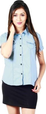 Faireno Women's Solid Casual Blue Shirt