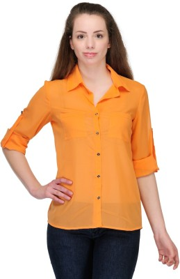 Just Wow Women's Solid Casual Orange Shirt
