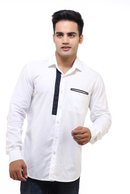 See Designs Men's Solid Casual White Shirt