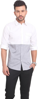 Exitplay Men's Solid Casual White Shirt