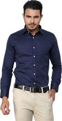 American Cult Men's Printed Formal Reversible Blue Shirt