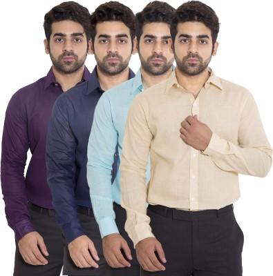 deekshavastra Men's Solid Casual Beige Shirt