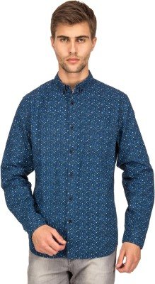 Bluesaint Men's Printed Casual Blue Shirt