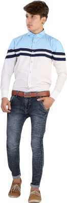 Saraul Men's Solid Casual White, Light Blue, Dark Blue Shirt