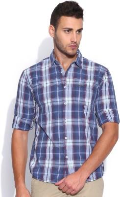 Noble Faith Men's Checkered Casual Blue Shirt