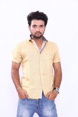 Bleu Men's Solid Casual Linen Yellow Shirt