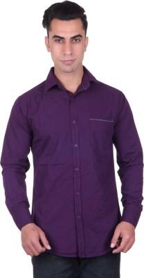 Cotblend Men's Solid Casual Purple Shirt