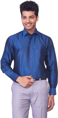Mark Anderson Men's Solid Casual Blue Shirt